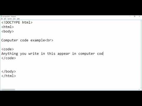 Computer Code Example in HTML code tag