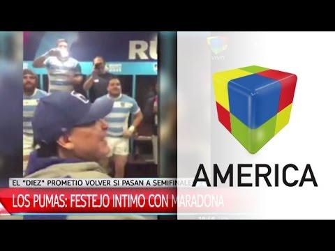 Los Pumas y el festejo íntimo con Diego Maradona