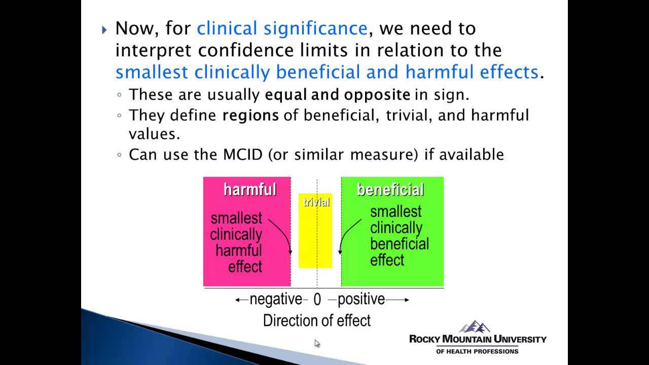 Confidence interval to determine clinical significance