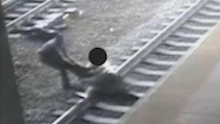 Caught on camera: NJ transit cop pulls man from train tracks