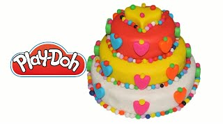 Play Doh Cake, Beautiful Hearts and Balls Colored