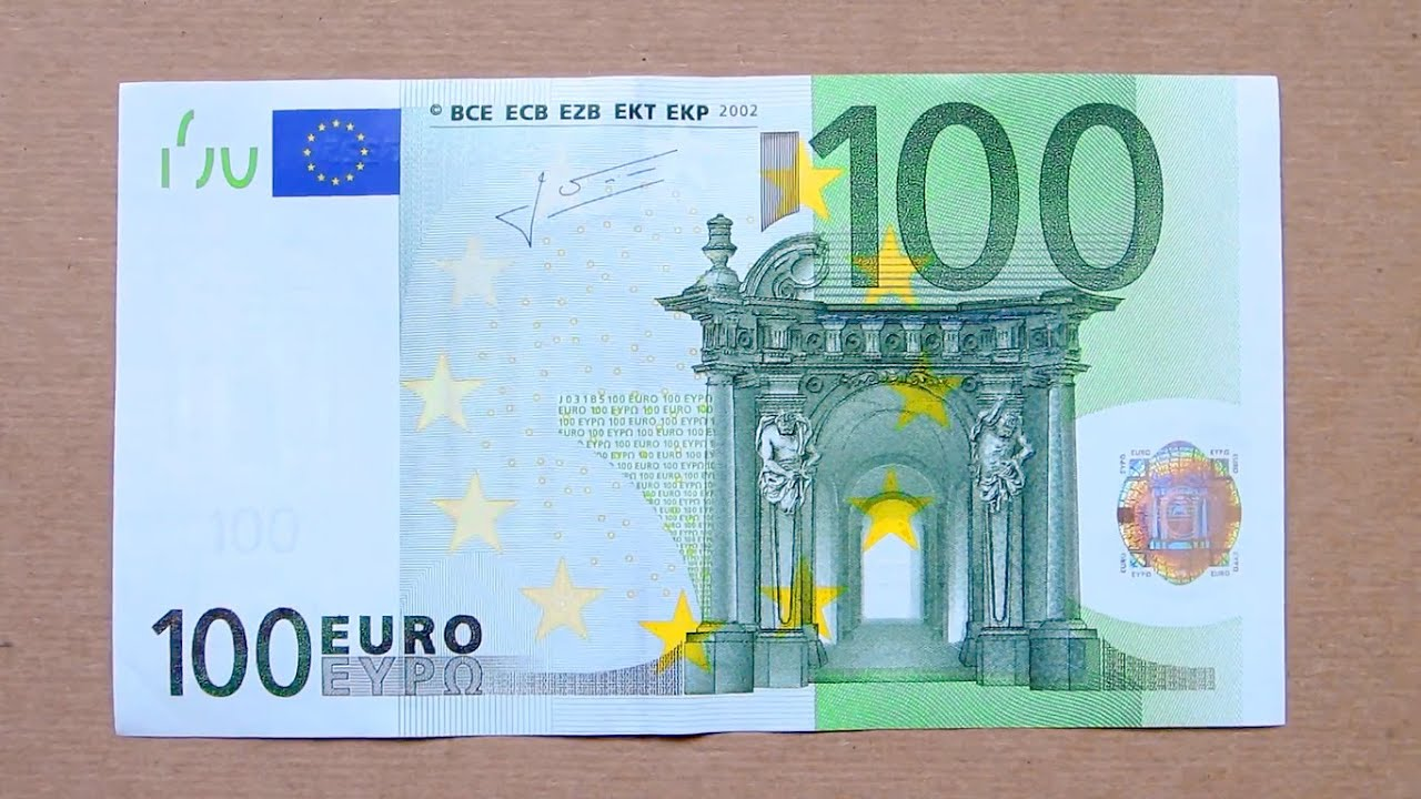 100 Euro Banknote (One Hundred Euro / 2002) Obverse and Reverse ...