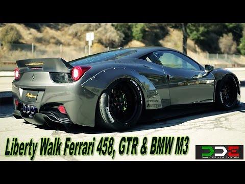 Liberty Walk LB Ferrari 458 & GTR Widebody INSANE SOUND FLY BYS!