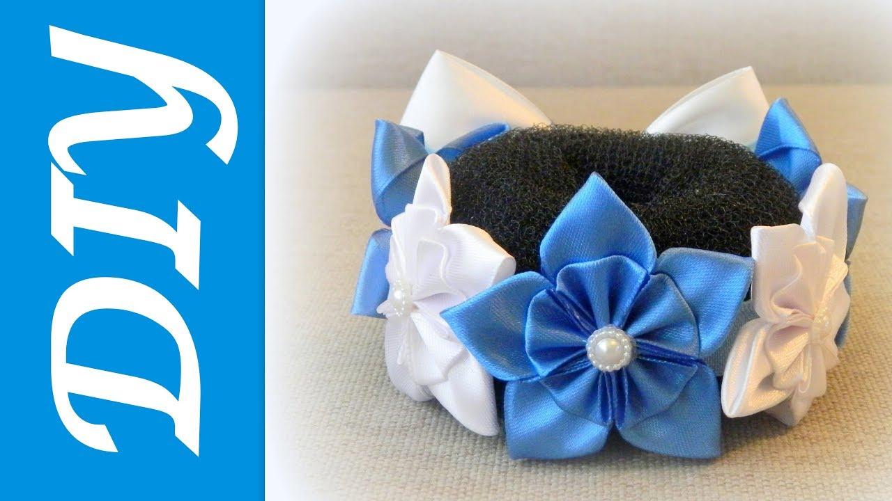 Резинка на пучок для волос своими руками сине белого цвета 93