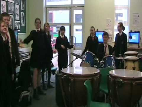 Some of the year 8 music students practicing Mission songs!
