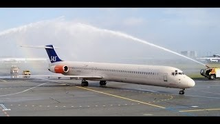 Water Salute on the last McDonnell Douglas MD-80 SAS! (HD)