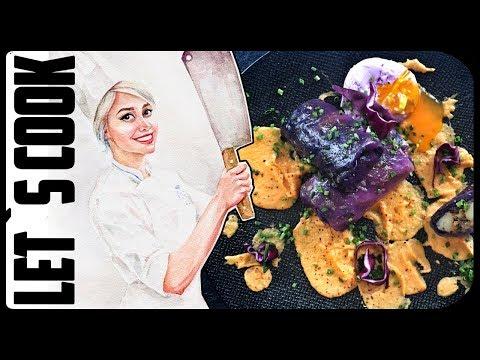 ✿ LET`S COOK ✿ Фиолетовые голубцы с розовым яйцом-пашот и пюре из батата  (Вегетарианские) ♥