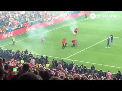 UEFA EURO 2016: Croatia fans throw flares and fight in stand