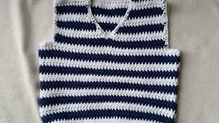 How to crochet a sleeveless jumper - Part 1 - backpart by BerlinCrochet