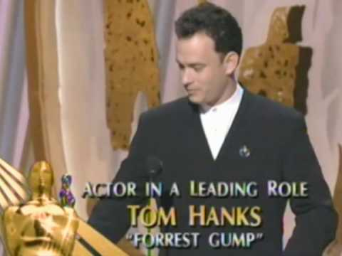 "Tom Hanks winning an Oscar® for ""Forrest Gump"""