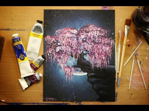 Acrylic Painting - Weeping Cherry Blossom in the Moonlight - Speed Painting