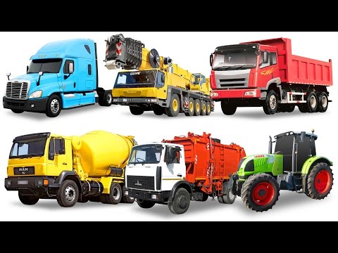 Street Vehicles Names for Kids. Cars and Trucks. Garbage truck Dump truck Tractor Concrete mixer