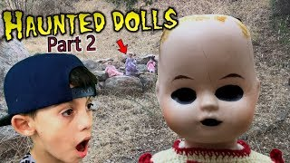 Evil Doll Haunted me at the park with CREEPY CLOWN DOLLS like Scary Halloween Ghosts - Part 2