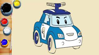 Drawing and Coloring pages with Robocar Poli for kids