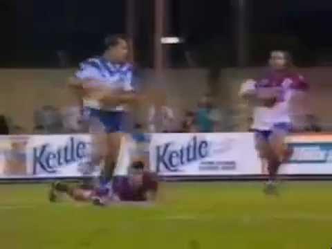 Jim Dymock Try Canterbury-Bankstown Bulldogs against Manly-Warringah Sea Eagles in a 1994 Winfield Cup match at the Belmore Sports Ground. Daryl Halligan ret...