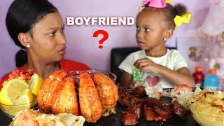 LAYLA HAS A BOYFRIEND?!!! SEAFOOD MUKBANG ( HUGE PRAWNS + KING CRAB LEGS) EATING SHOW | QUEEN BEAST