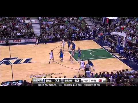 Dirk Nowitzki fadeaway bank shot vs Utah Jazz