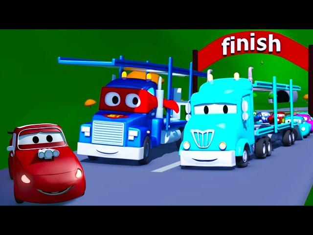 Carl el Super CamiГn y el Porta Autos en Auto City  Dibujos animados para niГos
