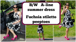 Crossdresser - B/W A-line summer dress and fuchsia stiletto peeptoe high heels | NatCrys