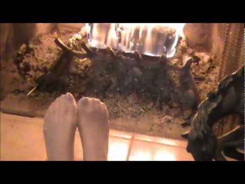 Julie Warms Her Feet By The Fire Wearing Silver Nail Polish & Sheer Pantyhos