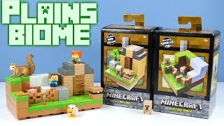 Minecraft Mini-Figures Plains Biome Collection 1 of 4 Redstone Ranch and 3 Loot Lair Playsets