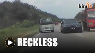 BMW driver overtakes recklessly, causes accident