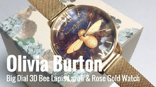 Olivia Burton Big Dial 3D Bee Lapis Lazuli & Rose Gold Boucle Mesh Watch Unboxing review