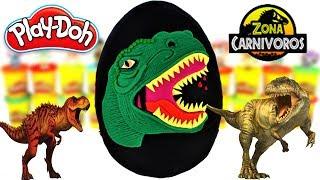 Huevo Sorpresa Gigante de Tiranosaurio Rex de Jurassic World de Plastilina Play doh en Español
