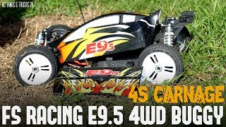 FS RACING E9.5 4WD BRUSHLESS 1/8 BUGGY - 4S Bash Carnage!