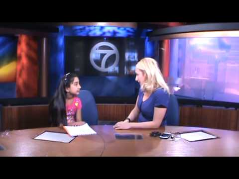 Rebecca interviewing WJLA ABC 7 meteorologist Lauryn Ricketts for her project on Weather