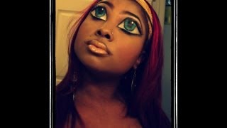 "BRATZ DOLLS/DOLL EYES AND LIPS HALLOWEEN MAKEUP TUTORIAL!!! ""EASY"""