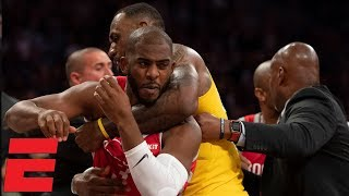 LeBron James' home debut marred by Lakers vs Rockets scuffle   NBA Highlights