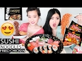 Kimono Sushi Date Mukbang | Black Bean Noodles | Spicy Fire Noodles | Eating Show