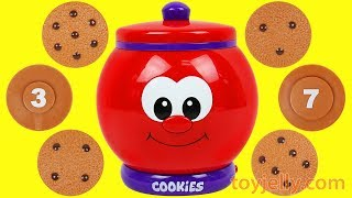 Learn Numbers to Count to 10 COOKIE JAR Surprise Toys & Minnie Mouse Super Kinder Joy Eggs for Baby