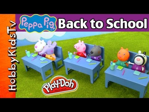 Peppa Pig School Play Set! Giant Peppa Stomps Friends. Toy Review by HobbyKidsTV