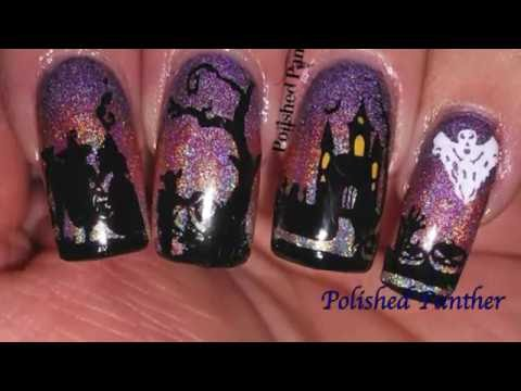 Aliexpress DXE 22 DXE 30 DXE 10 Girly Bits Stamping Polish Nail Art Review Spooky Halloween Sunset!