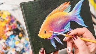 Colorful Ranbow Fish - Acrylic painting / Homemade Illustration (4k)
