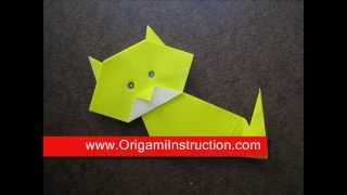How To Fold Origami Simple Cat - Origamiinstruction.com