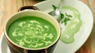 पालक का सूप | Restaurant style cream of spinach soup by Tarla Dalal