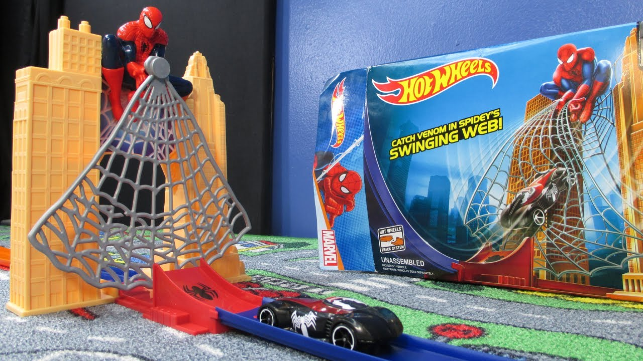 Spiderman web sling drop out hot wheels track set youtube