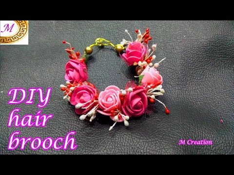 DIY Flower hair accessory/DIY HAIR BROOCH/how to make floral hair brooch - YouTube