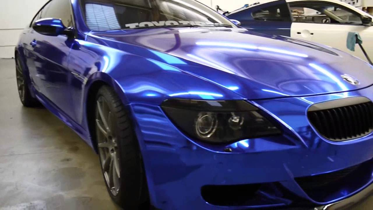 Bmw M6 Full Wrapped In Blue Chrome With Door Jams By