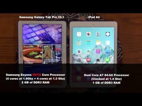 iPad Air vs Samsung Galaxy Tab Pro 10.1 Speed Test Comparison