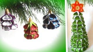 Christmas tree of satin ribbons, DIY Christmas tree