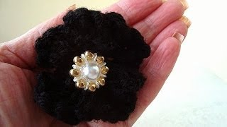 Knitting pattern, Knitted black flower, easy video tutorial how to diy a knit flower,