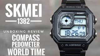 Skmei 1382 with compass pedometer and world time Unboxing