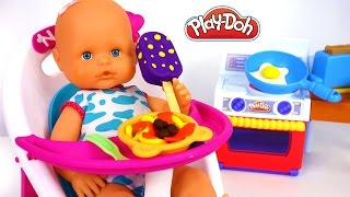 Nenuco Baby Doll Eating Play Doh Food Kitchen Cooking