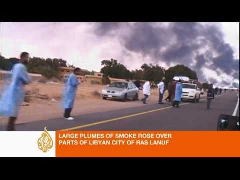 Bombs fall on Libya's Ras Lanuf