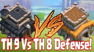Clash Of Clans - TH9 Vs. TH8 DEFENSE (Sweeper Base Build)