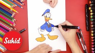Guide your child to paint and decorate Donald Duck, learn color through the drawing #SuKid